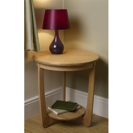 Nathan - Shades Oak Sunburst Top Round Lamp Table