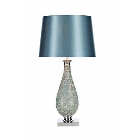 Dar Lighting - Hogan Table Lamp Blue Mosaic complete with Shade