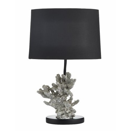 Dar Lighting - Kora Table Lamp Silver complete with Shade