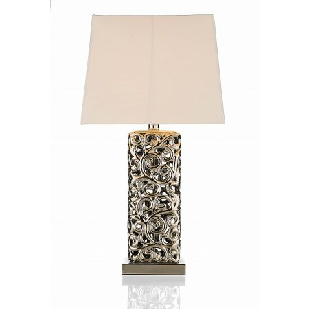 Dar Lighting - Noah Table Lamp Silver Ceramic complete with Shade