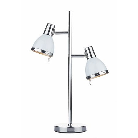 Dar Lighting - Osaka 2 Light Table Lamp Polished Chrome White