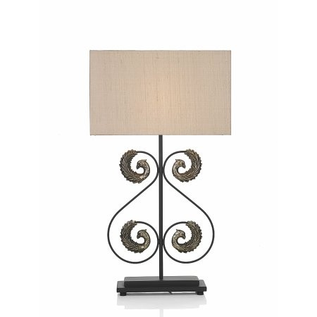 Dar Lighting - Peacock Table Lamp Bronze complete with Bronze Silk Shade