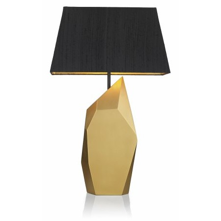 Dar Lighting - Shard Table Lamp Black Gold complete with Black Silk S702 Shade