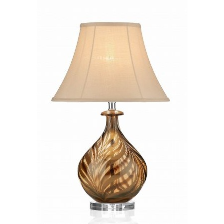 Dar Lighting - Tiger Table Lamp Glass Stripe complete with Brown Shade