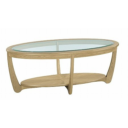 Nathan - Shades Oak Glass Top Oval Coffee Table