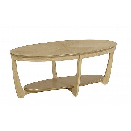 Nathan - Shades Oak Sunburst Top Oval Coffee Table