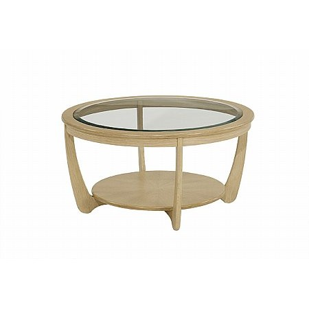Nathan - Shades Oak Glass Top Round Coffee Table