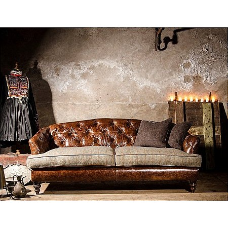 Tetrad - Dalmore Harris Tweed Leather Midi Sofa