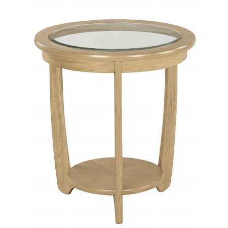 Nathan - Shades Oak Glass Top Round Lamp Table