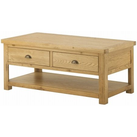 Classic Furniture - Portland Grand Coffee Table with 2 Drawers Oak